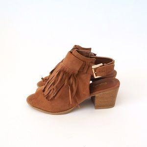 Qupid Shoes - Camel fringe ankle strap chunky heels