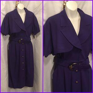 Deep purple vintage dress 80s new  M