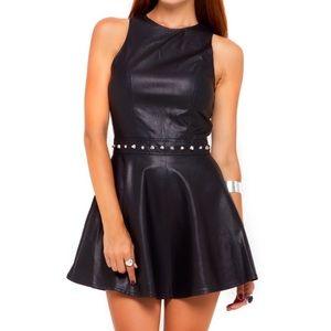 💥MOTEL ROCKS💥Faux Leather Skater Dress