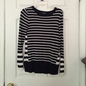 Navy & white striped Express sweater