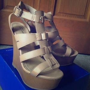 Shoes - Tan/brown wedge heels