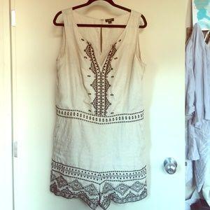 Linen LOFT Romper beige w/black embroidery sz 14