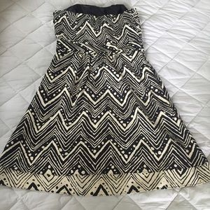 The Limited Dresses - Black-White Strapless Dress with Sweetheart Neck