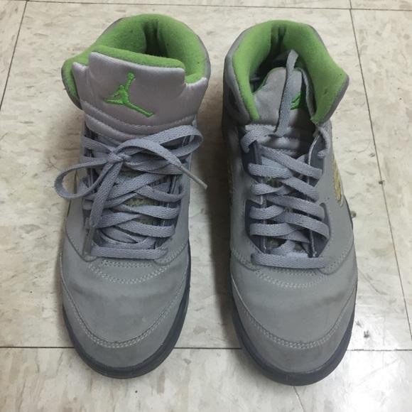 Grey And Lime Green Jordan 5s