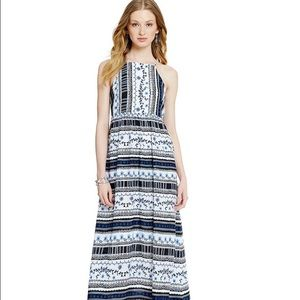 CeCe Riviera blue black multi patterned maxi dress