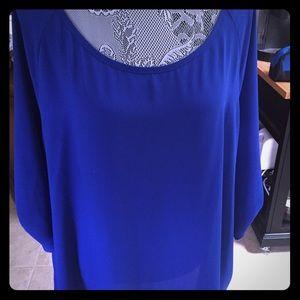 Royal blue sheer blouse SZ 2X