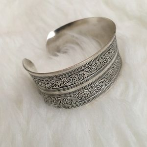 Turkish Silver Boho Bendable Cuff Bracelet