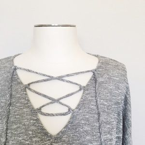Long Sleeve Tie-Front Top