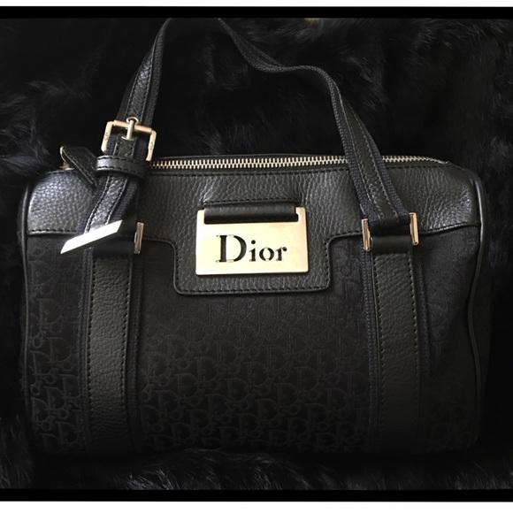 68055f3866a2b Dior Handbags - Christian Dior black canvas diorissimo Boston bag
