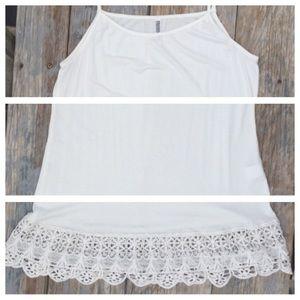 Monoreno Dresses & Skirts - Ivory Knit Slip/dress with Lace Hem Detail