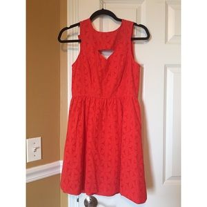 Kensie Orange Eyelet Lace Dress
