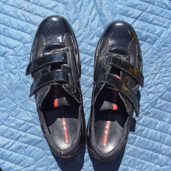 302239e1339 Prada Velcro Patent Leather Sneakers. M 57d48603b4188ecefe01f685