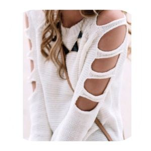 Sweaters - sleeve cut out sweater