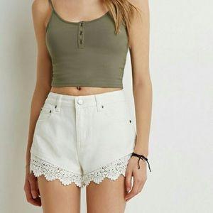 Crochet White Hemmed Shorts