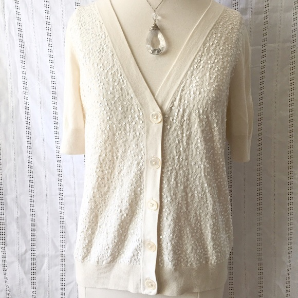 Talbots - Talbots Ivory Sequin Cardigan Thin Sweater Small from ...
