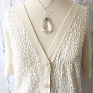 Talbots Ivory Sequin Cardigan Thin Sweater Small