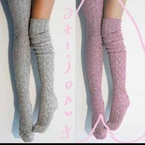 Peony and Moss Accessories - Pink Peony & Moss Marled Thigh High Over Knee Sock