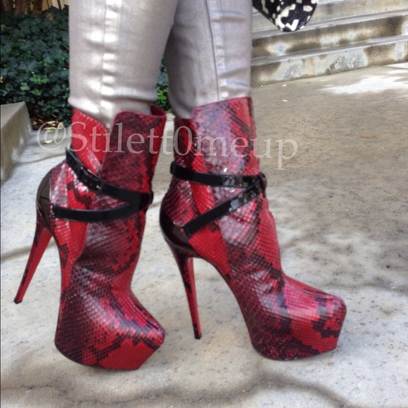 Christian Louboutin Red Python Boots 160mm