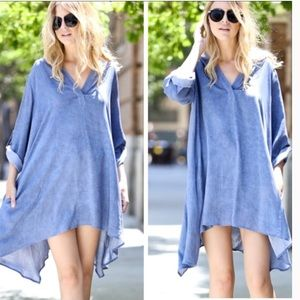 •chambray tunic dress•