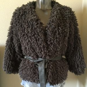 Fever Jackets & Blazers - Fever Faux Mongolian Fur Belted Jacket