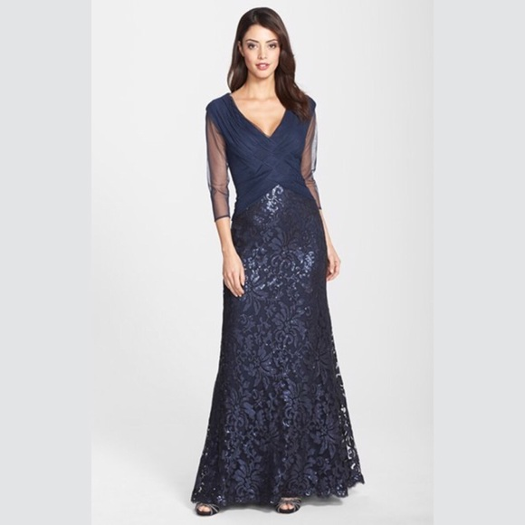 d67686403f9 SALE ❗️Tadashi Shoji Navy Sequin Evening Gown. M 57d4b779eaf0307df101561c