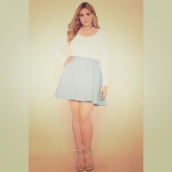 18ee280a8d14e Forever 21 Dresses   Skirts - Forever 21 plus skater denim skirt + FREE GIFT !