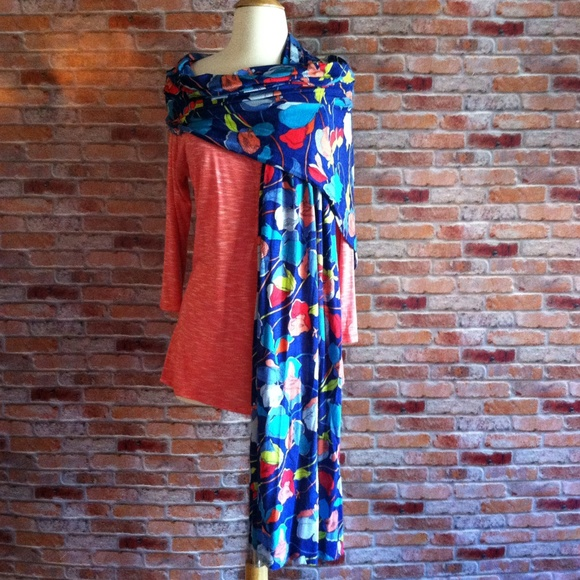 036370418 Old Navy Accessories | Royal Blue Floral Rayon Scarfwrap | Poshmark