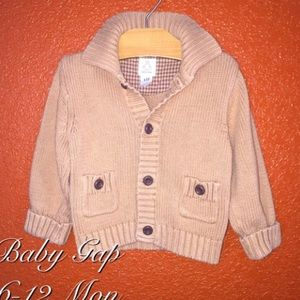 Baby Gap Brown Button Up Sweater 6-12 Mon