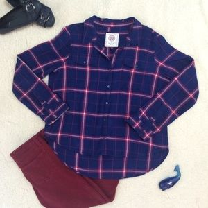 SO Tops - High Low Blue & Red Checkered Shirt