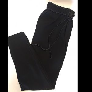 MANGO pants with leather trim