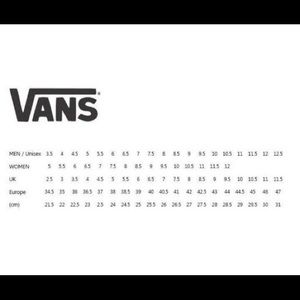 vans shoe size chart inches