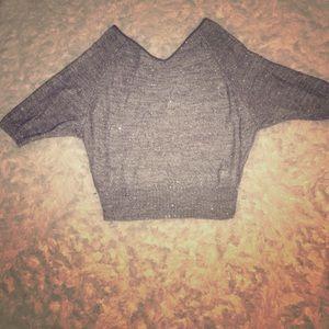 Ann Taylor Loft Gray Glitter Sweater! Size Med.