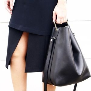 JCOS black leather bucket bag with metal handle