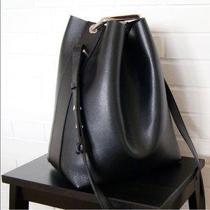 JCOS black leather bucket bag with metal handle