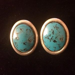 Sterling Silver Turquoise Post Large Earrings