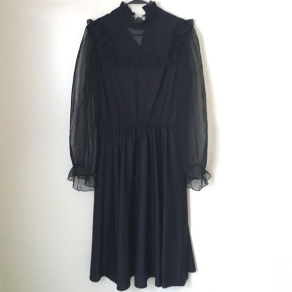 Vintage - Vintage sheer black Boston Maid dress - small flaw from ...