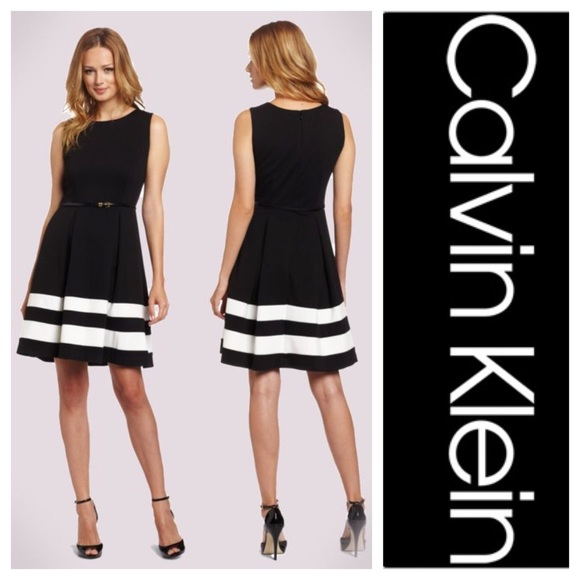 a7120a00f029 Calvin Klein Dresses & Skirts - Calvin Klein Belted Fit & Flare Dress NWOT