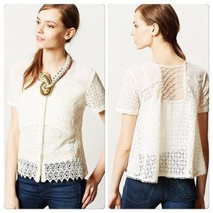 Anthropologie Buttoned Lace Midi Blouse