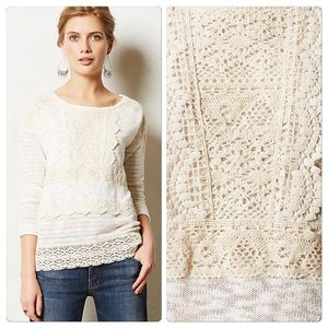 Anthropologie Crocheted Heirloom Pullover