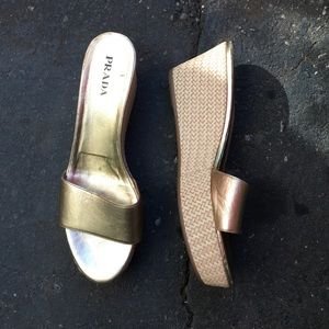 Prada gold leather sandals!