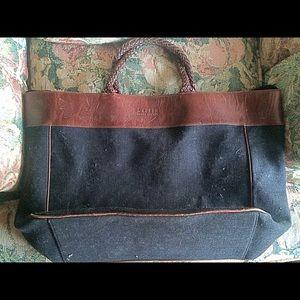 Ralph Lauren Weekender Black linen & leather