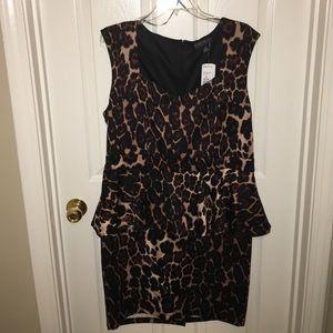 Peplum Leopard Print Dress