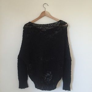 Debut Tops - Debut Slouchy Sheer Studded Sweater