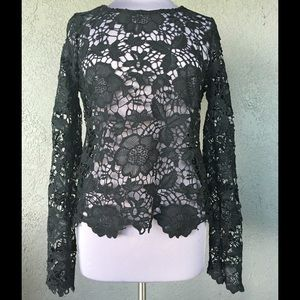 Mascara Tops - Sexy Black Lace Long Sleeve Top Size XL (Juniors)