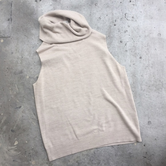 Designers Originals Sweaters - Designers Originals Beige Sleeveless Turtleneck