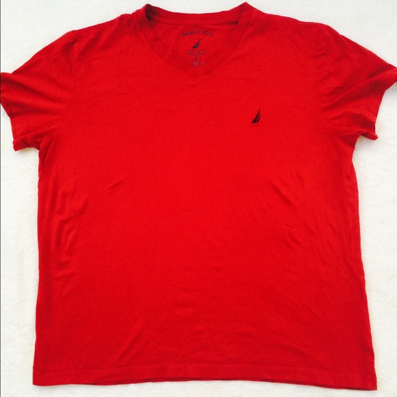 Nautica Mens Solid Cotton Vneck Tshirt Red Small Poshmark