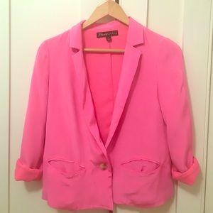 Elizabeth and James hot pink silk blazer