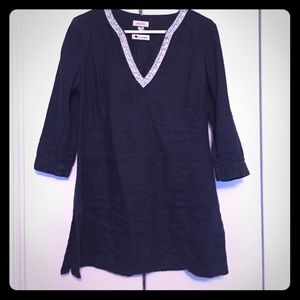 Navy linen tunic with embellishments M