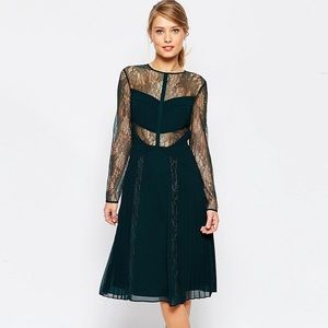ASOS lace and pleat detail midi dress