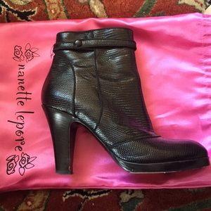 Nanette Lepore black leather boots.